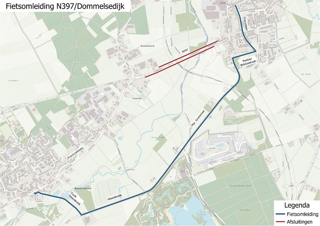 N69 - Kaartje fietsomleiding N397 - Dommelsedijk